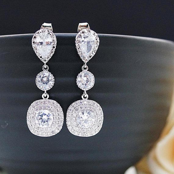 Свадьба - Cubic Zirconia Bridal Earrings Wedding Jewelry Square Drop Cubic Zirconia dangle Earrings Halo Style Cubic Zirconia Wedding Earrings
