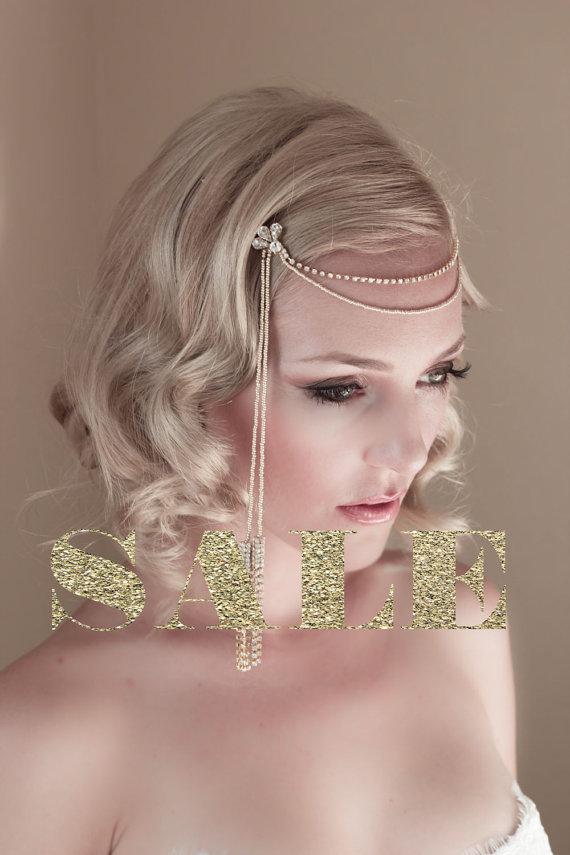 زفاف - SALE Silver Art Deco Bridal Hair Jewelry, Dangling Tassels, Bridal Hair Chain, Bridal Headband, 1920's Bridal Headband, Style #1423