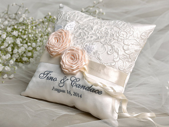 Lace Wedding Pillow Ring Bearer Pillow Embroidery Names Lace Peach