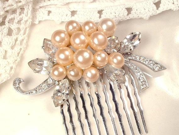 زفاف - Champagne Ivory Pearl & Pave Rhinestone Silver Bridal Hair Comb or Sash Brooch, Vintage Floral Spray Pin or OOAK Headpiece Art Deco Wedding
