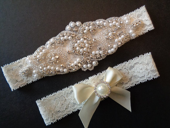 زفاف - Wedding Garter Set Ivory Stretch Lace 4 Colors  Bridal Garter Set With Classic Pearls and  Rhinestones Bridal Garter Set.