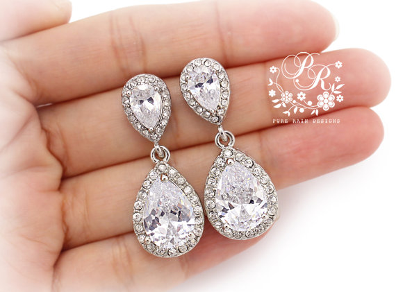 from crystal white bridal drops earrings com clear tear jewelry swarovski bridesmaid earringsnation