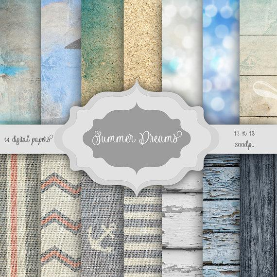 Свадьба - Summer Dreams Digital Paper Pack - beach, sky, shabby wood, burlap, bokeh, sand pattern backgrounds for wedding invitations bridal shower