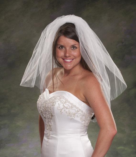 زفاف - Bridal Veils 2 Tier Pencil Edge Veil 1 Layer Wedding Veils 28 White Blusher Veil Light Ivory Veil Two Layers Short Wedding Veils
