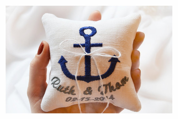 Hochzeit - Nautical Embroidered Wedding ring pillow , anchor wedding pillow ,personalized  ring pillow, ring bearer pillow with Custom embroidery (LR7)