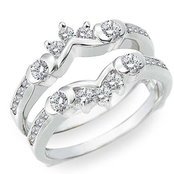 Half Halo Classic Engagement Ring Guard Sterling Silver Ring Guard