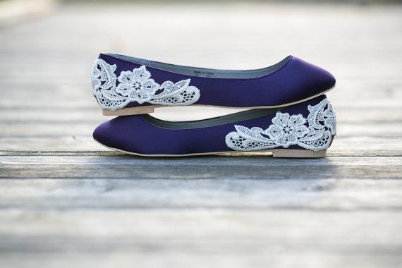 زفاف - Wedding Shoes - Purple Wedding Shoes/Purple Wedding Flats, Purple Flats with Ivory Lace. US Size 10