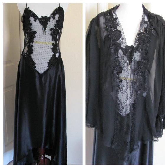 زفاف - Amazing JONQUIL Ladies Black Silky Beaded Lace Lingerie Peignoir Nightgown Robe Set 2 Piece Pristine