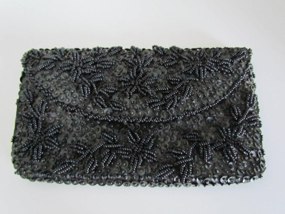 Mariage - Black Beaded Clutch Bag Bridesmaid Clutch Purse Beads and Sequins Black Clutches Bags Formal Wedding Purses Antique Beaded Purse