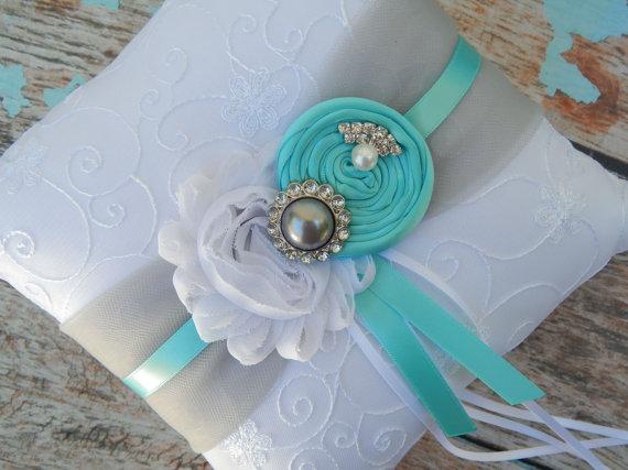 Ring Bearer Pillow Tiffany Blue Grey Aqua