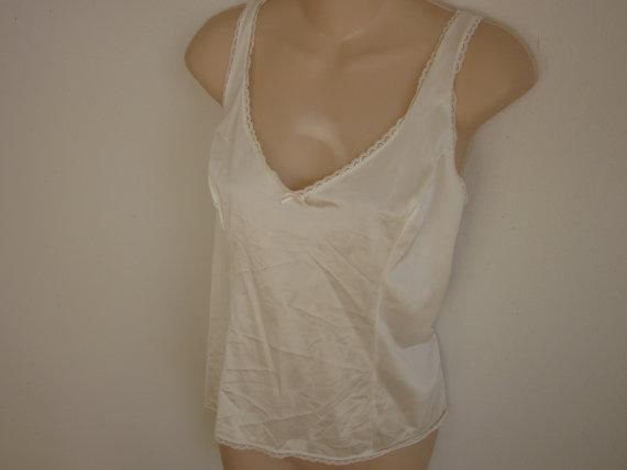 زفاف - Vintage slip camisole cami white ivory nylon sexy  lingerie 40 bust  L