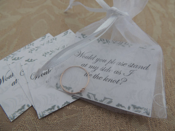 Tie The Knot Ring Cute Bridal Party Inviation Gift Ask Your Friend To Be Bridesmaid Wedding Jewelry
