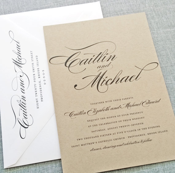 Hochzeit - NEW Caitlin Script Recycled Kraft Wedding Invitation Sample - Rustic Recycled Wedding Invitation