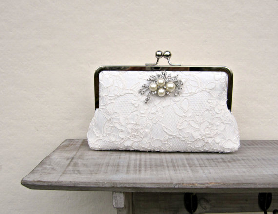 Lace Bridal Clutch Bag Ivory Wedding Clutch Pearl And Rhinestone Cream Clutch Off White ...