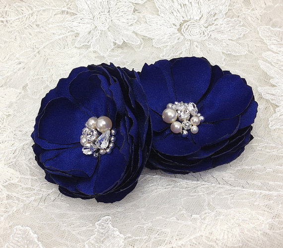 Hochzeit - Cobalt Blue Flower Hair Pins -Satin Flower Brooch - Shoe Clip for a Bride, Bridesmaid, Formal Occasion, Family Photo Gift - Pick Your Color