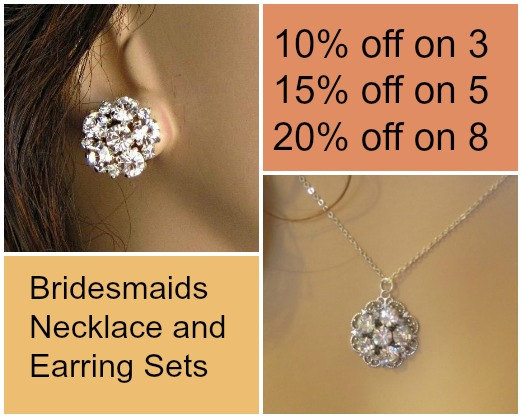 Wedding - Bridesmaids Jewelry Set, Silver Crystal  Necklace and Earrings, Post Stud Earrings, bridesmaid gift jewelry set