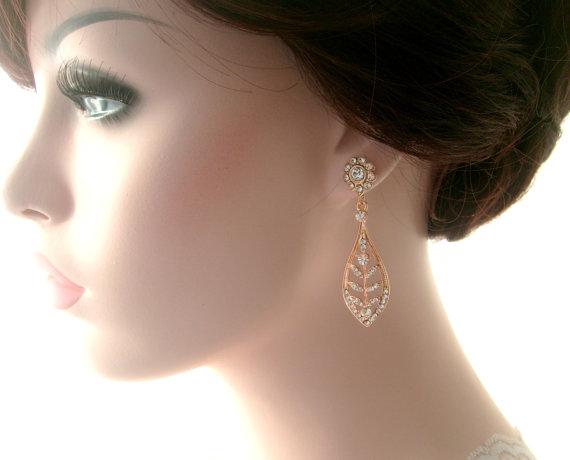 Mariage - Bridal earrings -Rose gold dangle leaf earrings-Wedding earrings-Rose gold art deco rhinestone Swaroski crystal  earrings - Wedding jewelry