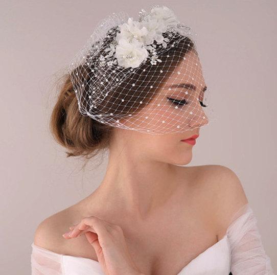 Hochzeit - Whimsical Bohemian Bridal birdcage veil with Pearl, Bandeau Birdcage Veil with flower headpiece, Bride Wedding ivory floral hair accessories