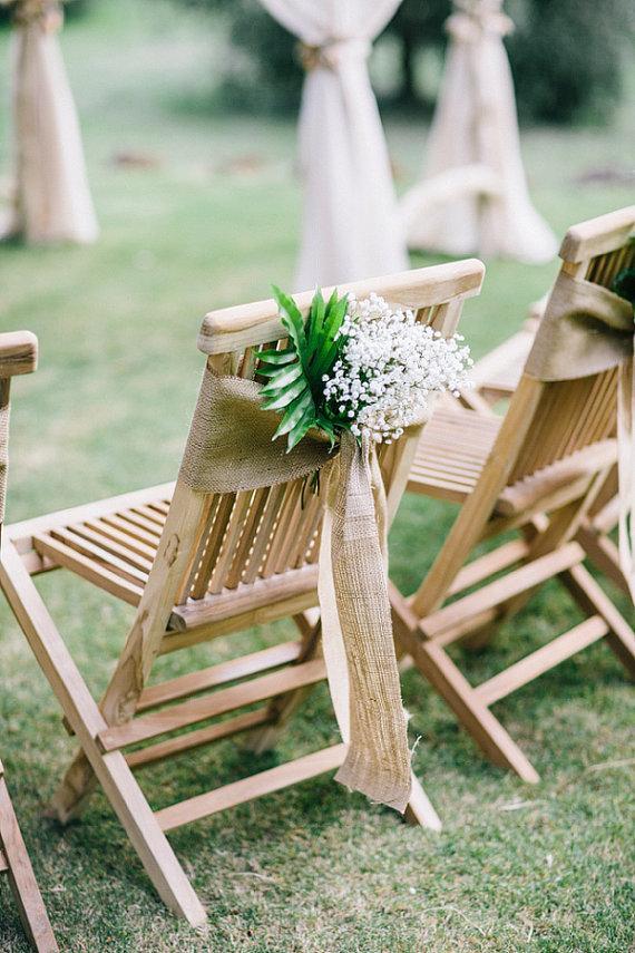 Wedding - Burlap chair sash - Rustic wedding