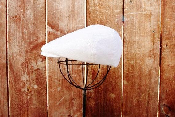 Wedding - White linen newsboy hat, baby newsboy cap -  christening, baptism, ring bearer