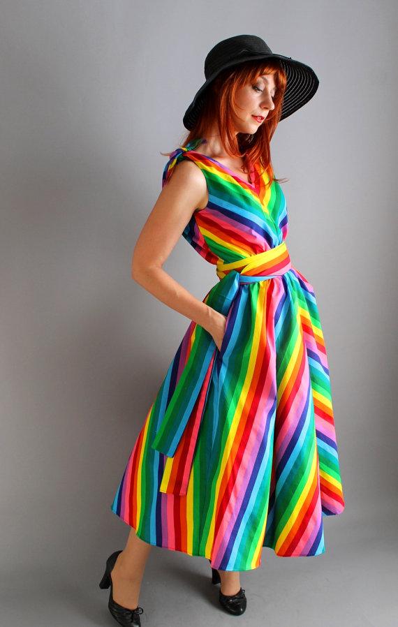 Romantic Handmade Cotton Chevron Rainbow Dress. Day Dress. Designer Dress.  Alternative Wedding. Summer
