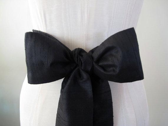 Hochzeit - Black Dupioni Silk Sash Bow Belt Wedding Sash - short length - made to order - last one