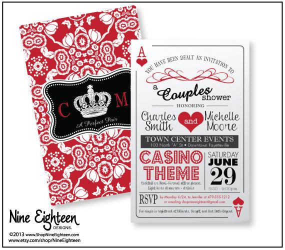 "زفاف - Trendy ""Casino Theme"" Couple's Shower Invitation, 2sided playing cards design, Printable Hi-Res PDF, fits 6x9 envelopes"