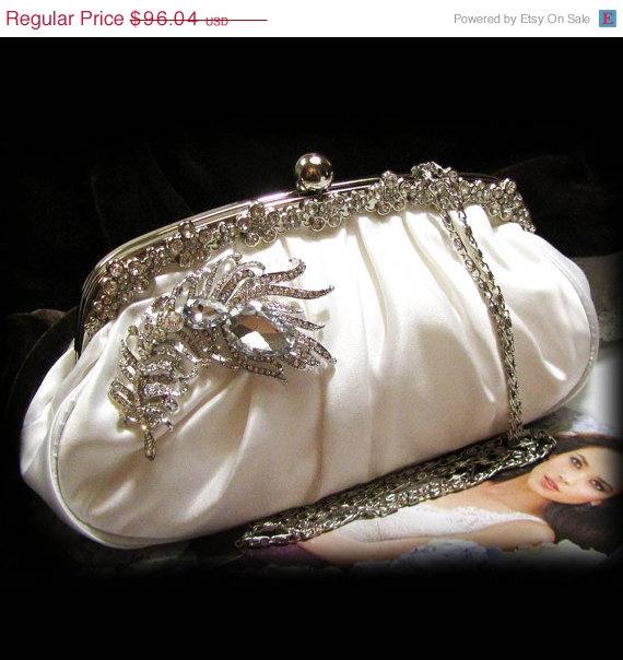Mariage - Bridal clutch, wedding clutch, Crystal clutch, vintage inspired evening bag,Ivory clutch, bridal bag