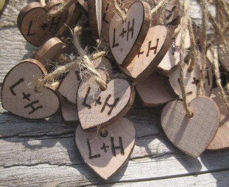 Hochzeit - Rustic Wedding Heart Favor Tags 40 Woodburned Charms Personalized Initials Bride Groom