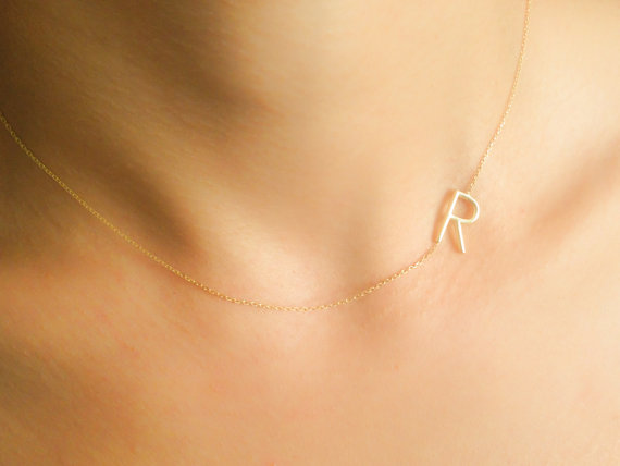 gold sideways initial necklace personalized jewelry letter necklace personalized bridesmaids gifts personalized necklace