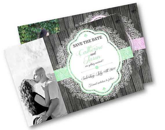Свадьба - Rustic save the date invite Wood and Lace Photo Card wedding invitation invites printable picture  mint pink peach lavendar yellow coral