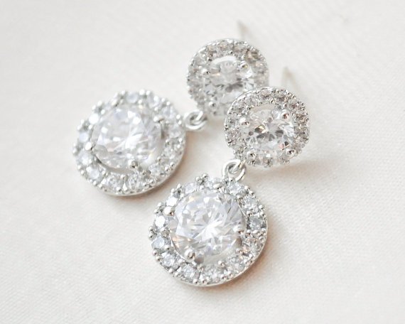 Hochzeit - Round CZ Wedding Earrings, CZ Bridal Earrings, Wedding Jewellery