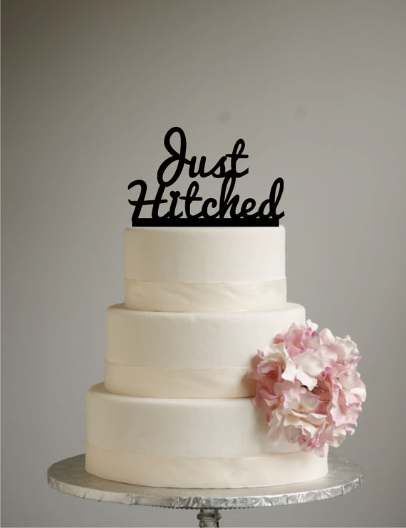 Just Hitched Wedding Cake Topper - Acrylic - Shabby Chic - Rustic ...