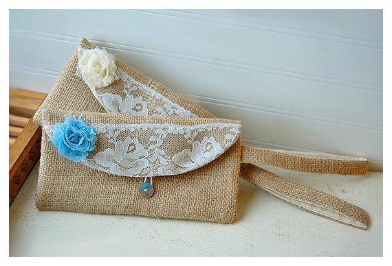 Mariage - burlap purse bag lace wedding wristlet clutch rustic rose shabby flower color choice Personalize Bridesmaid party gift MakeUp