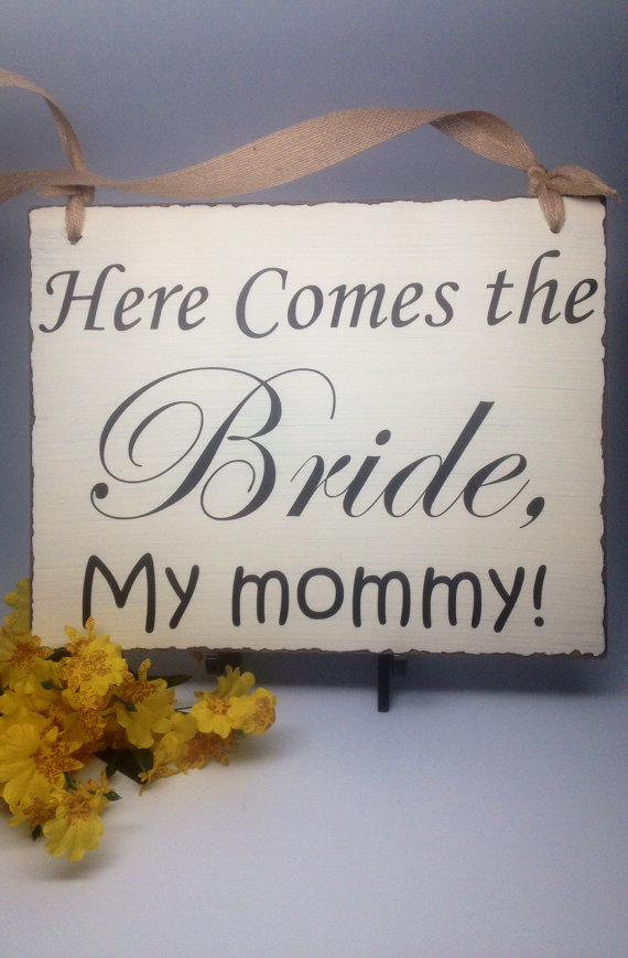 """Wedding - Wedding Sign, Flower Girl Sign, Ring Bearer Sign, Wedding Photo Prop,, """"Here Comes the Bride, My Mommy"""" and """"They Lived Happily Ever After"""""""