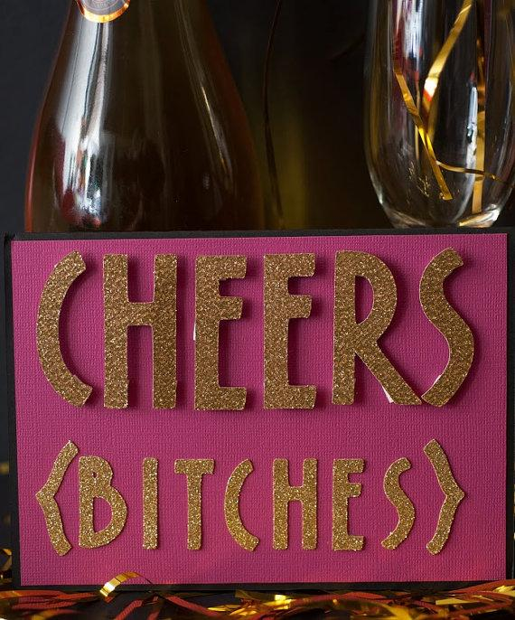 زفاف - Cheers Bitches Bachelorette Party Invitation