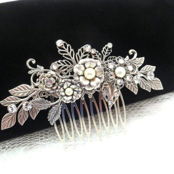 Свадьба - Wedding hair comb, bridal hair comb, bridal headpiece, bridal hair clip, vintage inspired hair comb, wedding hair accessory