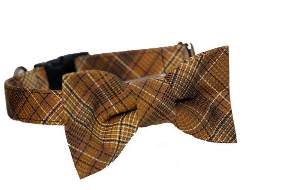 Свадьба - Bow Tie Dog Collar -  Wedding Dog Collar - Formal Bow Tie Collar - Grandpa Tartan Collar