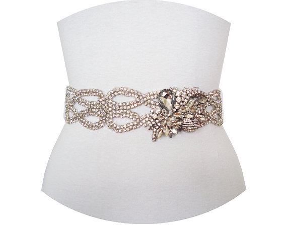 Mariage - ANALISA - Wedding Crystal Rhinestone Belt, Wedding Crystal Belt, Bridal Beaded Belt, Bridesmaid Crystal Sash