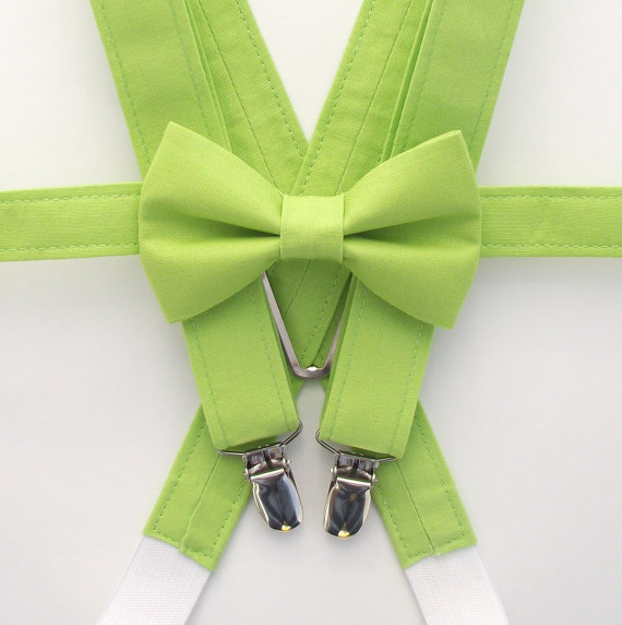 Wedding - BoysGreen Bow Tie and Suspenders: Green Bow Tie, Bright Green Suspenders, Solid, Lime, Kiwi, Chartreuse, Toddler ,Kids, Ring Bearer