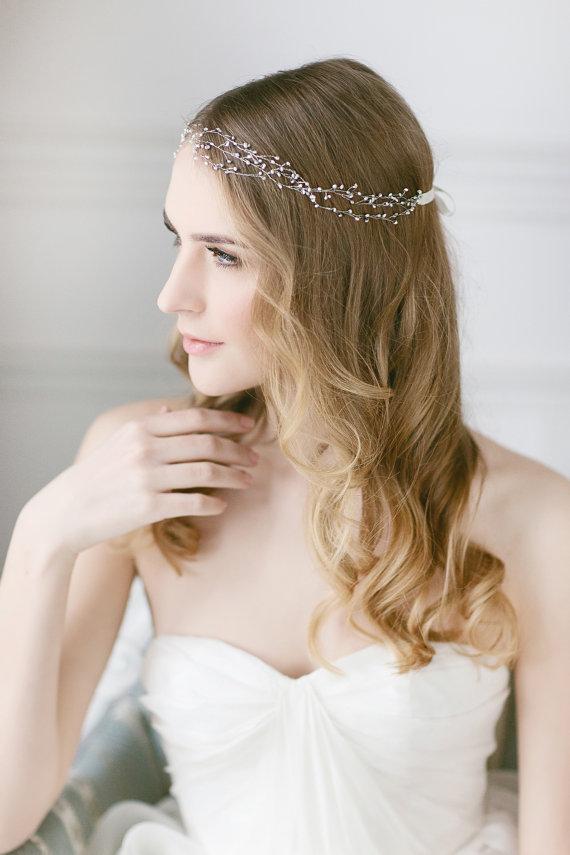 Delicate Pearl Headband ,Wedding Hair Vine, Freshwater ...