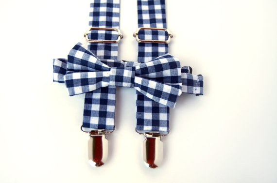c46cf4c117e0 Navy Gingham Bow Tie & Suspenders Set - Blue Gingham - Baby Toddler Child  Boys - Wedding