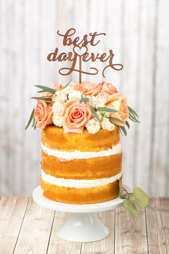 Mariage - Wedding Cake Topper - Best Day Ever - Mahogany