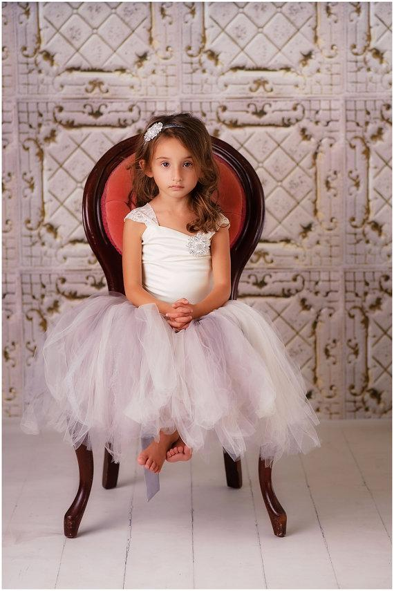 Boda - Flower Girl Dress--Tulle Skirt--Lace Corset Top--Perfect for Weddings--Many Colors to Choose from
