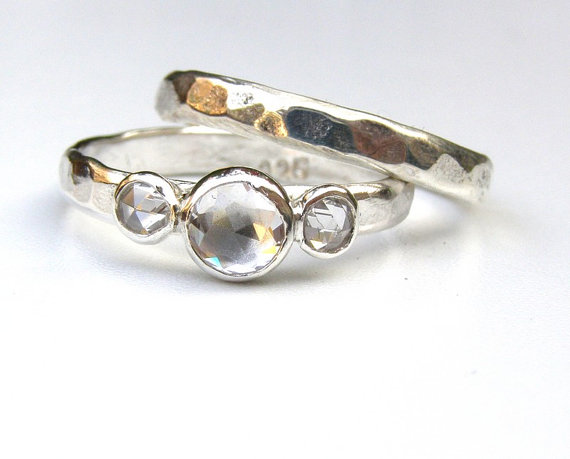 Mariage - Set Engagement Ring and wedding band -Topaz Gemstone silver ring  - Fine silver sterling ring Similar  diamond stone MADE TO ORDER