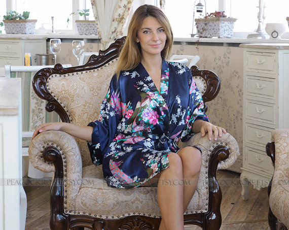 SALE Navy Blue Kimono Bathrobe Satin Robes, Silk Robe, Bridesmaid ...
