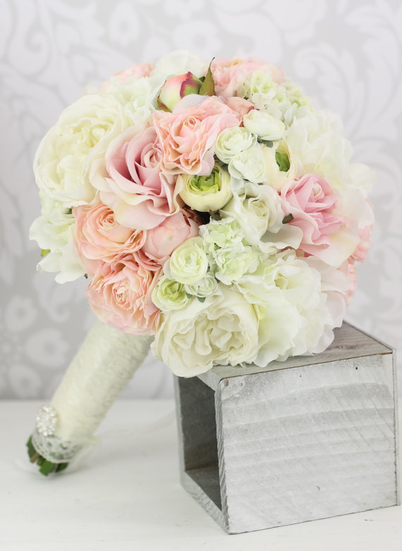 Hochzeit - Silk Bride Bouquet Peony Flowers Pink Cream Spring Mix Shabby Chic Wedding Decor (Item Number 140270)