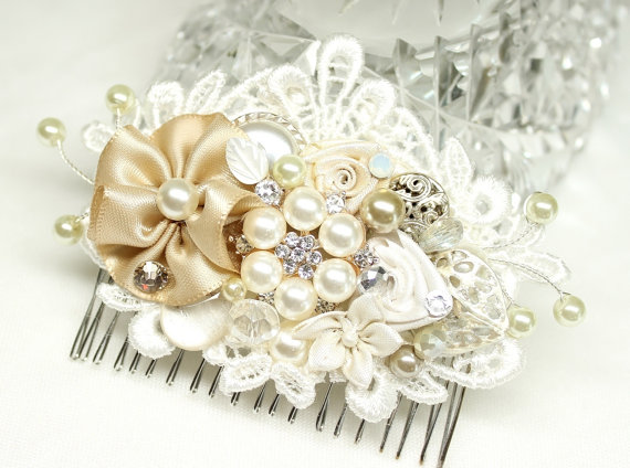Wedding - Champagne & Ivory Bridal Hair Comb- Wedding Hair Piece- Vintage Hair Accessories- Statement Bridal hairpiece-Champagne clip- Floral Haircomb