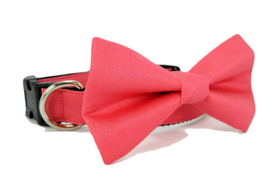 Свадьба - Wedding dog collar-Pink / Coral Dog Collar with bow tie set  (Mini,X-Small,Small,Medium ,Large or X-Large Size)- Adjustable