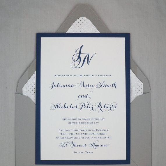 Wedding Invitation Jackson Design Monogram Script Classic – Classic Wedding Invitation Designs